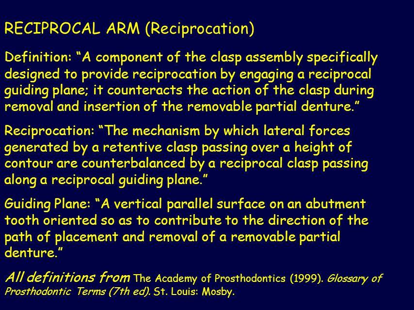 RECIPROCAL ARM (Reciprocation)
