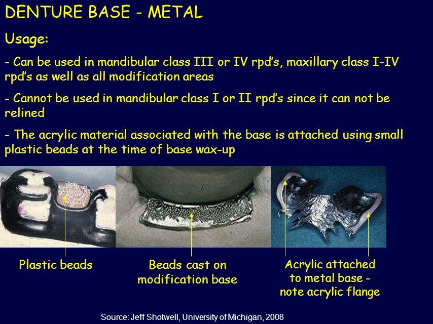 DENTURE BASE - METAL Usage: