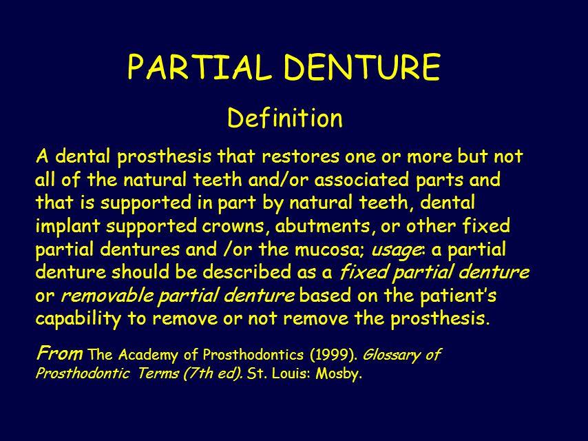 PARTIAL DENTURE Definition