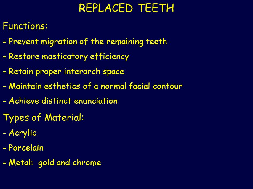 REPLACED TEETH Functions: Types of Material:
