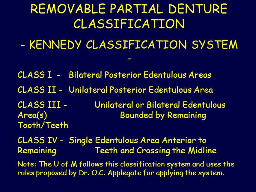 REMOVABLE PARTIAL DENTURE CLASSIFICATION