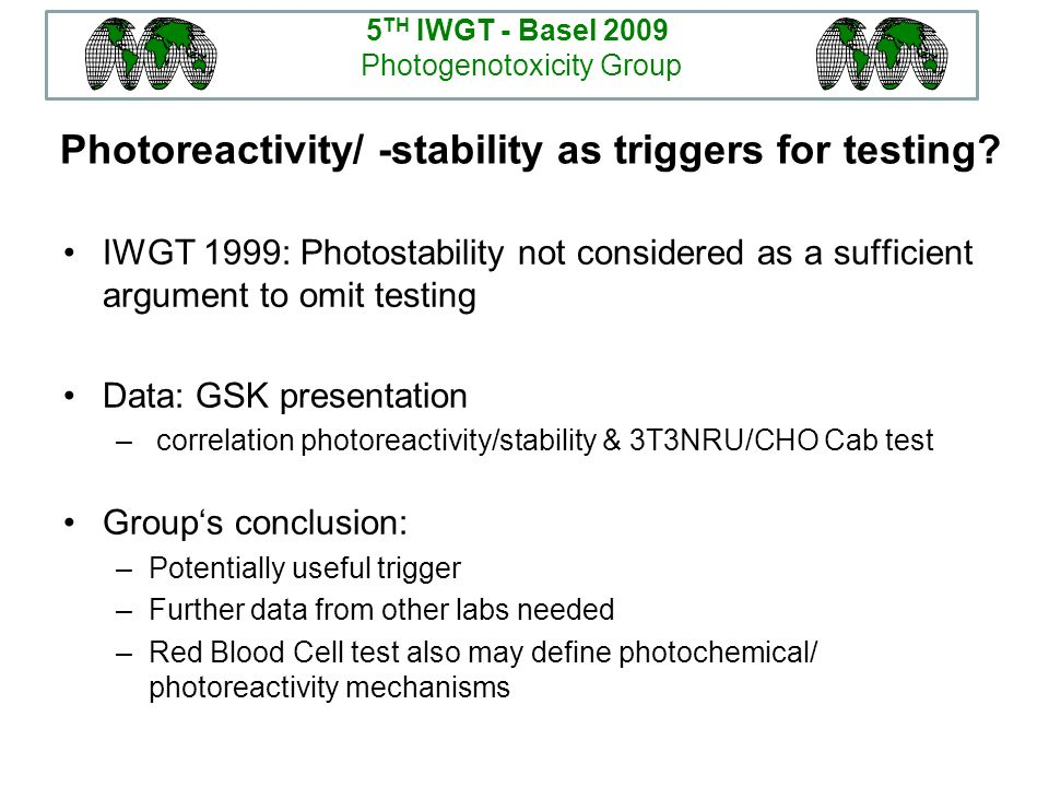Photoreactivity/ -stability as triggers for testing