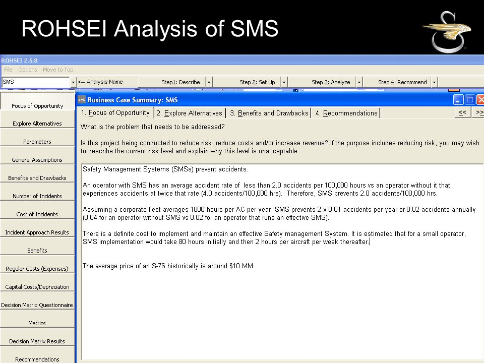 ROHSEI Analysis of SMS Develop and document the focus of the opportunity:
