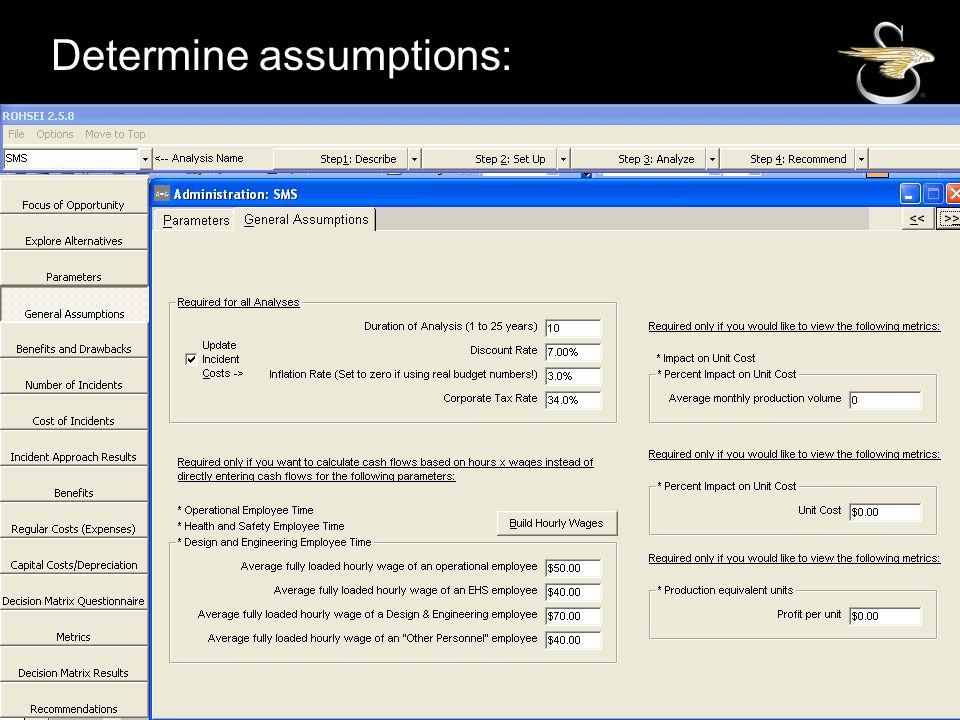 Determine assumptions: