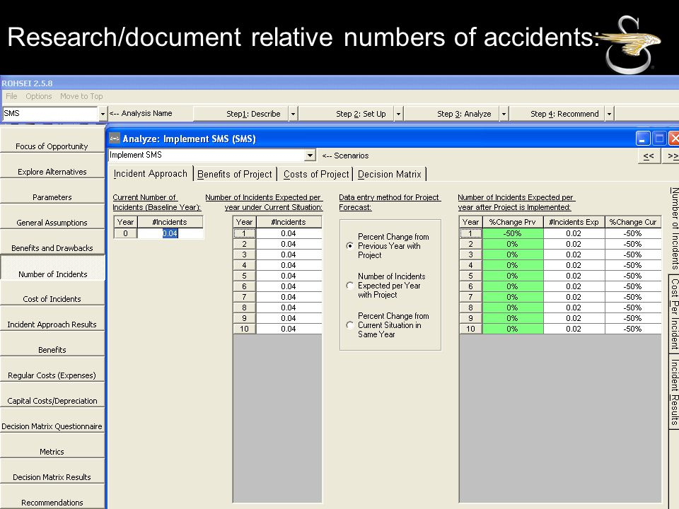 Research/document relative numbers of accidents: