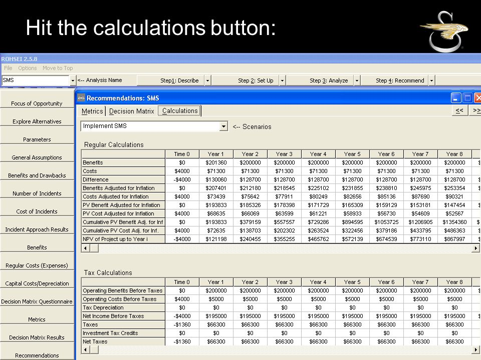 Hit the calculations button: