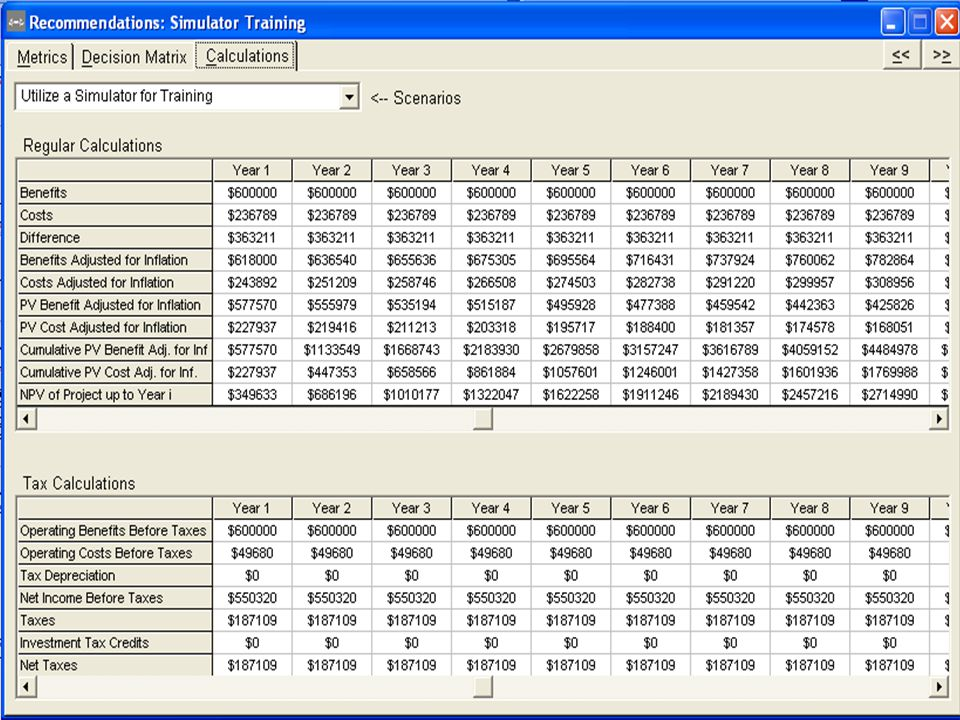 Same transparency of calculations for the finance geeks.