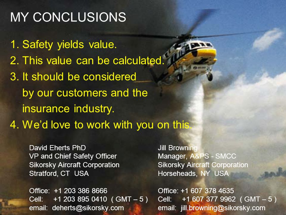 MY CONCLUSIONS 1. Safety yields value.