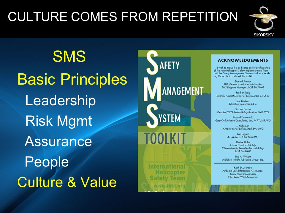 SMS Basic Principles Leadership Risk Mgmt Assurance People