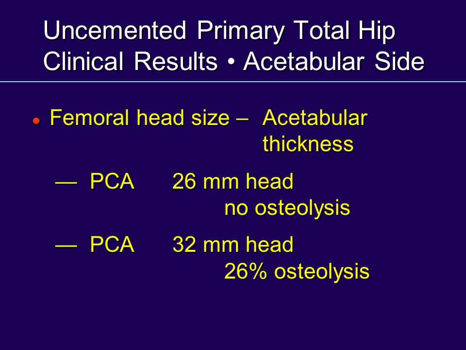 Uncemented Primary Total Hip Clinical Results • Acetabular Side