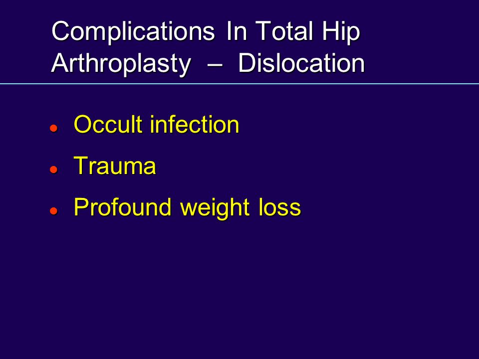Complications In Total Hip Arthroplasty – Dislocation