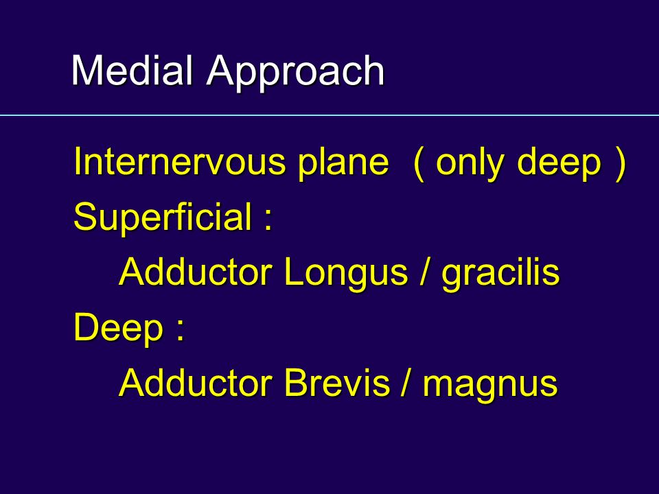 Medial Approach Internervous plane ( only deep ) Superficial :