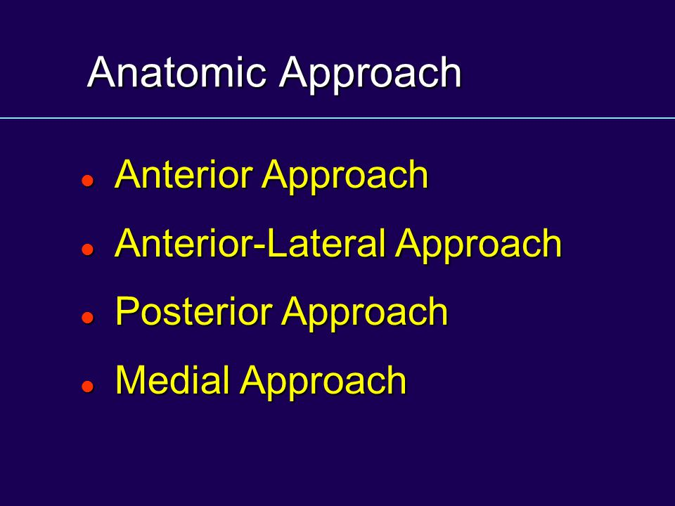 Anatomic Approach Anterior Approach Anterior-Lateral Approach