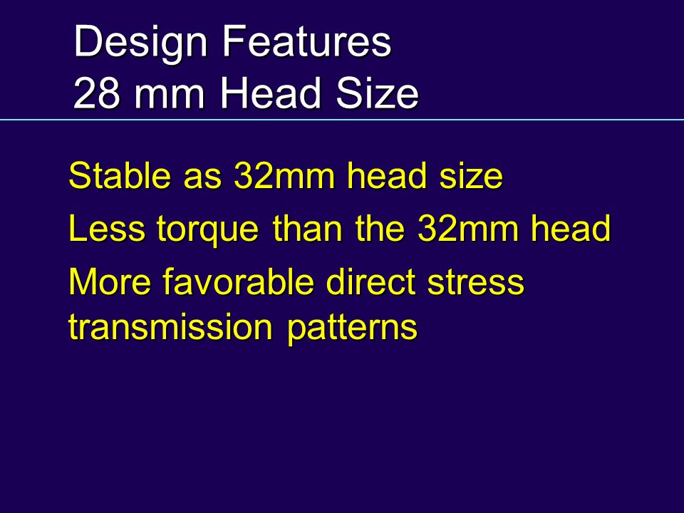 Design Features 28 mm Head Size