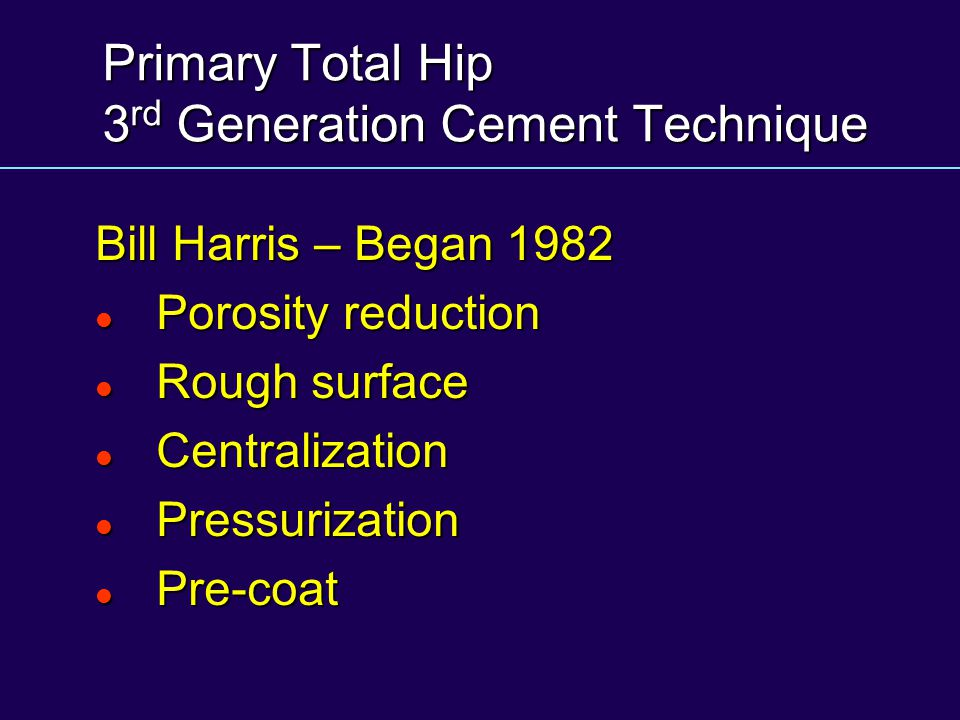 Primary Total Hip 3rd Generation Cement Technique