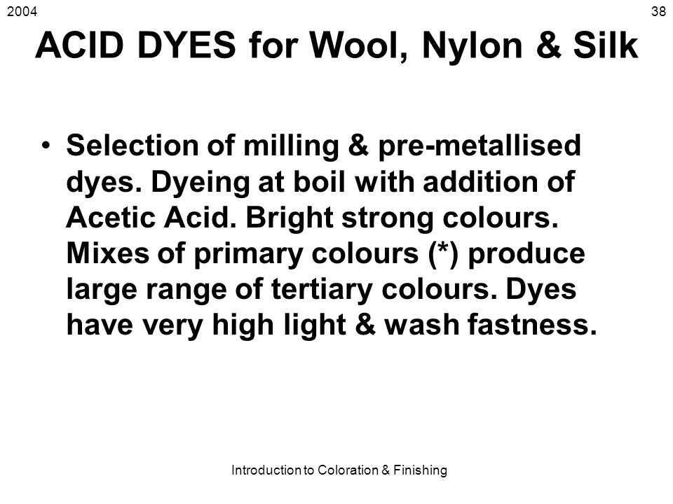ACID DYES for Wool, Nylon & Silk