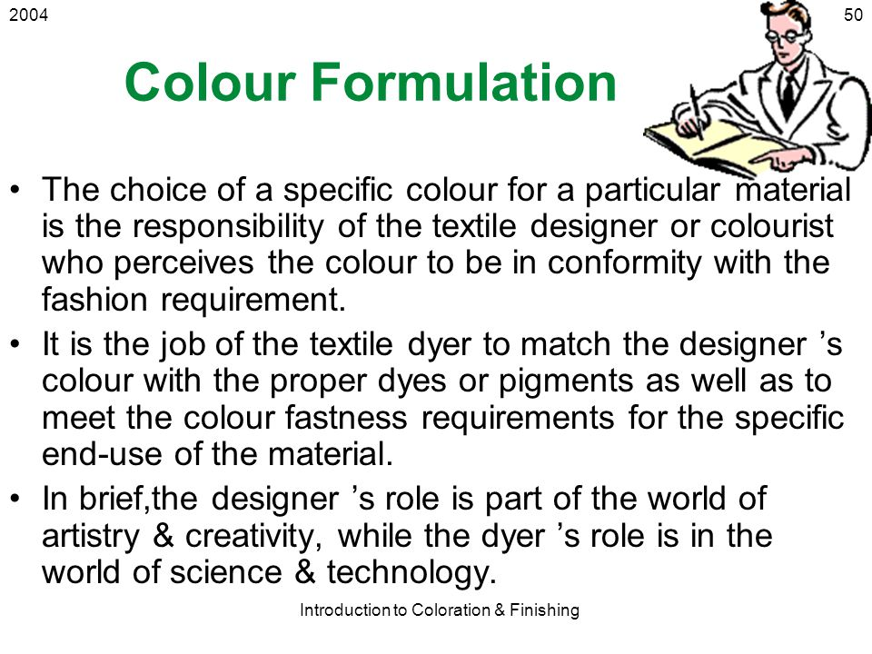 Introduction to Coloration & Finishing