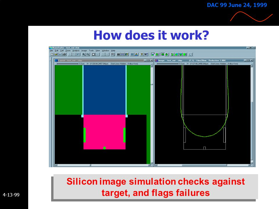 Silicon image simulation checks against target, and flags failures