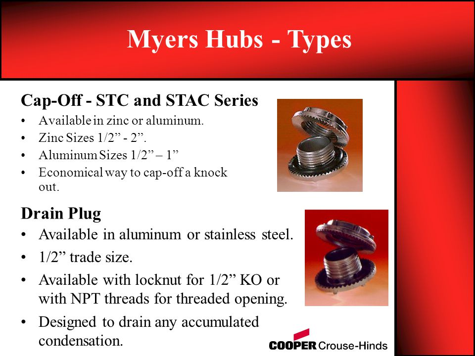 Myers Hubs - Types Cap-Off - STC and STAC Series Drain Plug