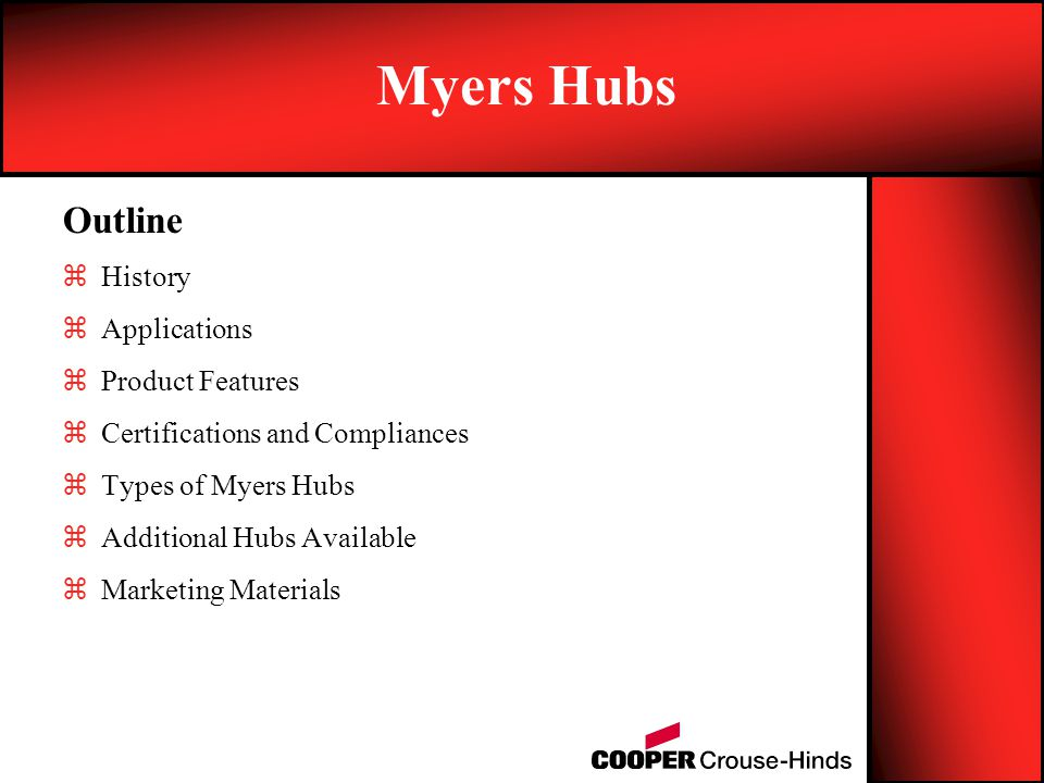 Myers Hubs Outline History Applications Product Features