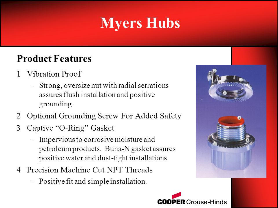Myers Hubs Product Features Vibration Proof