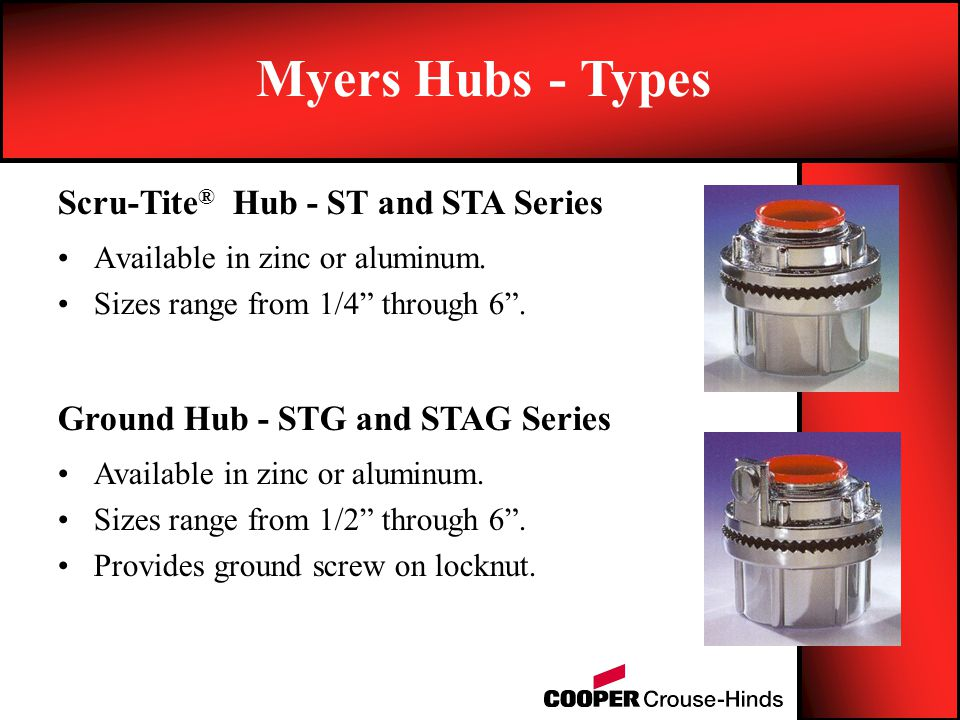 Myers Hubs - Types Scru-Tite® Hub - ST and STA Series