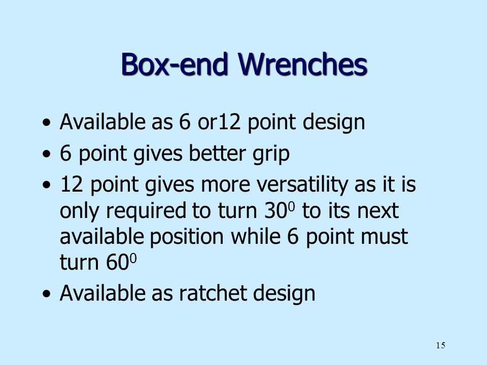 Box-end Wrenches Available as 6 or12 point design