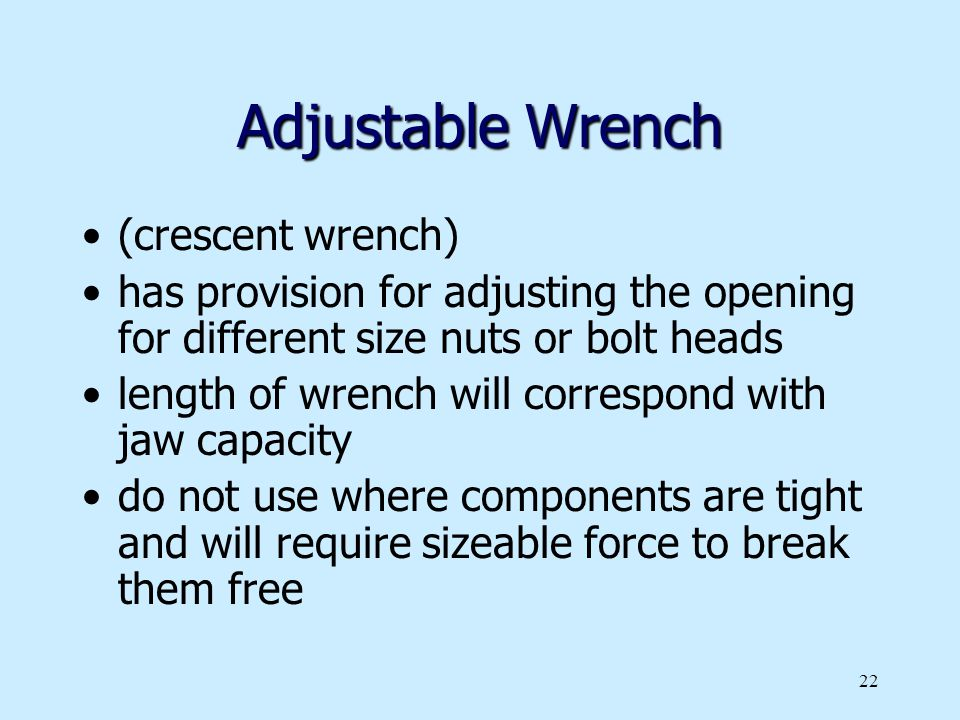 Adjustable Wrench (crescent wrench)