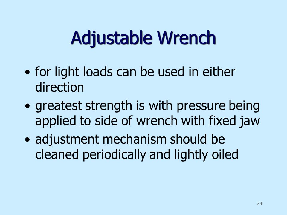 Adjustable Wrench for light loads can be used in either direction