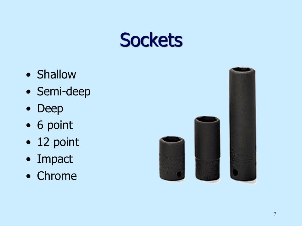 Sockets Shallow Semi-deep Deep 6 point 12 point Impact Chrome