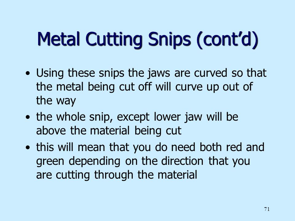 Metal Cutting Snips (cont'd)