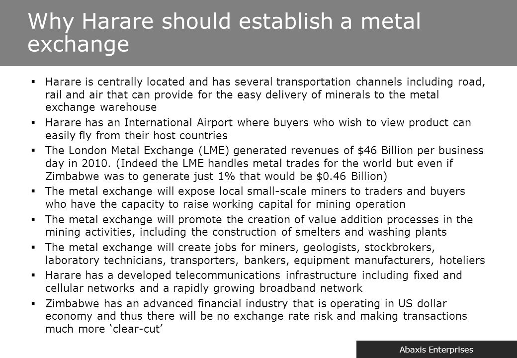 One of the key ways Zimbabwe can benefit from its minerals is by adding value to them also know as beneficiation