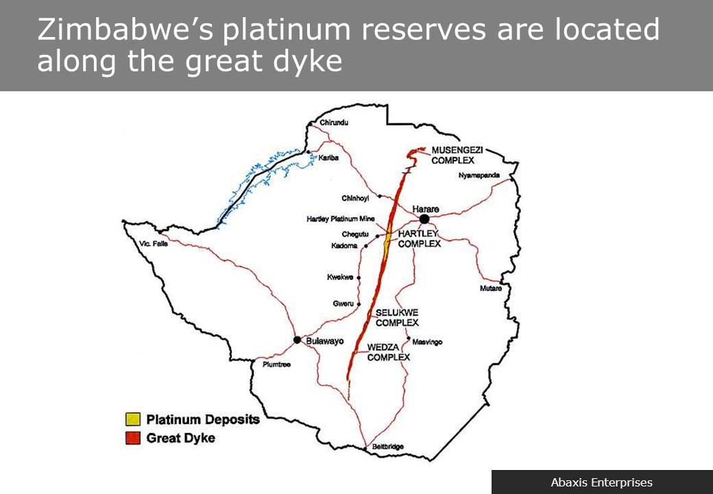 Zimbabwe & Platinum Zimbabwe has the second largest known deposits of platinum in the world.