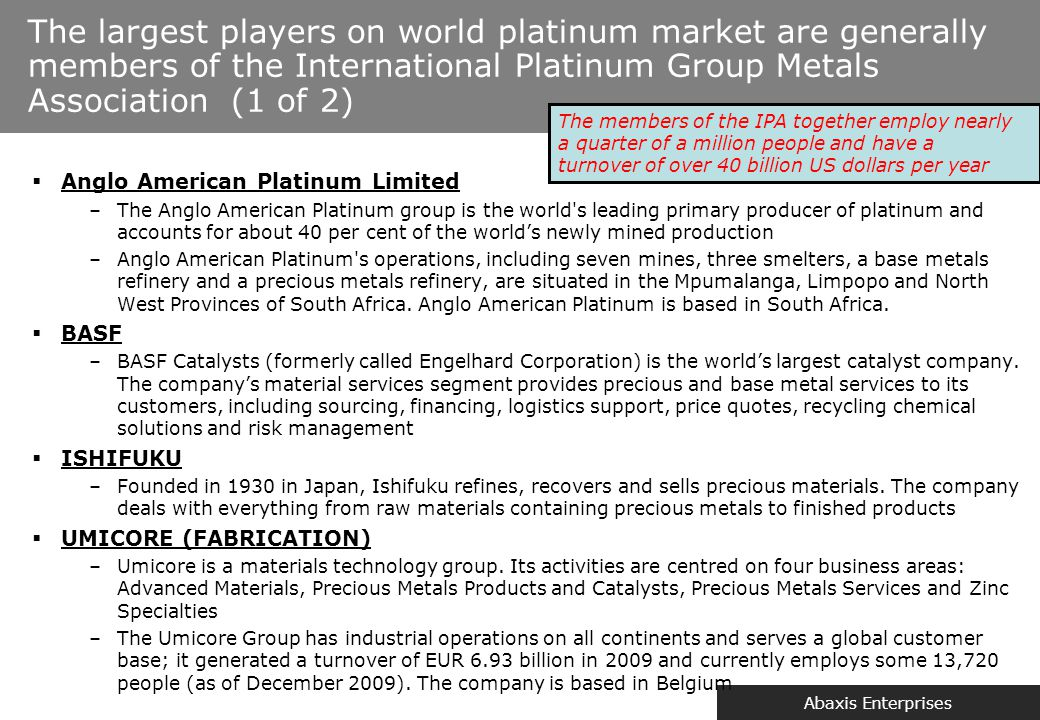 The largest players on world platinum market are generally members of the International Platinum Group Metals Association (2 of 2)