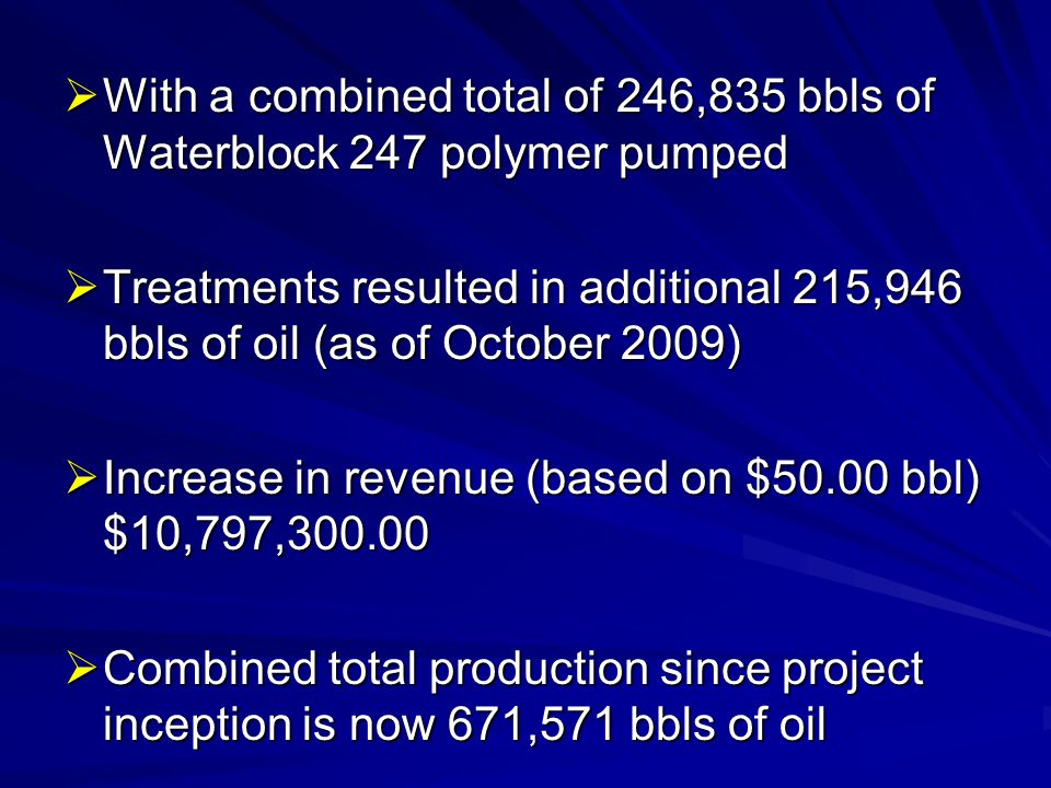 With a combined total of 246,835 bbls of Waterblock 247 polymer pumped