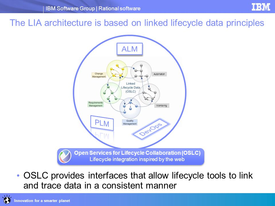 The LIA architecture is based on linked lifecycle data principles