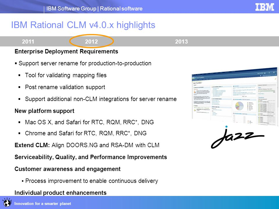 IBM Rational CLM v4.0.x highlights