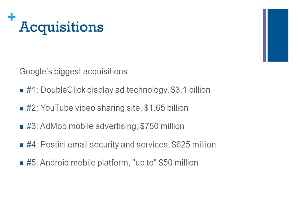 Acquisitions Google's biggest acquisitions:
