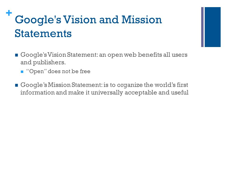Google s Vision and Mission Statements