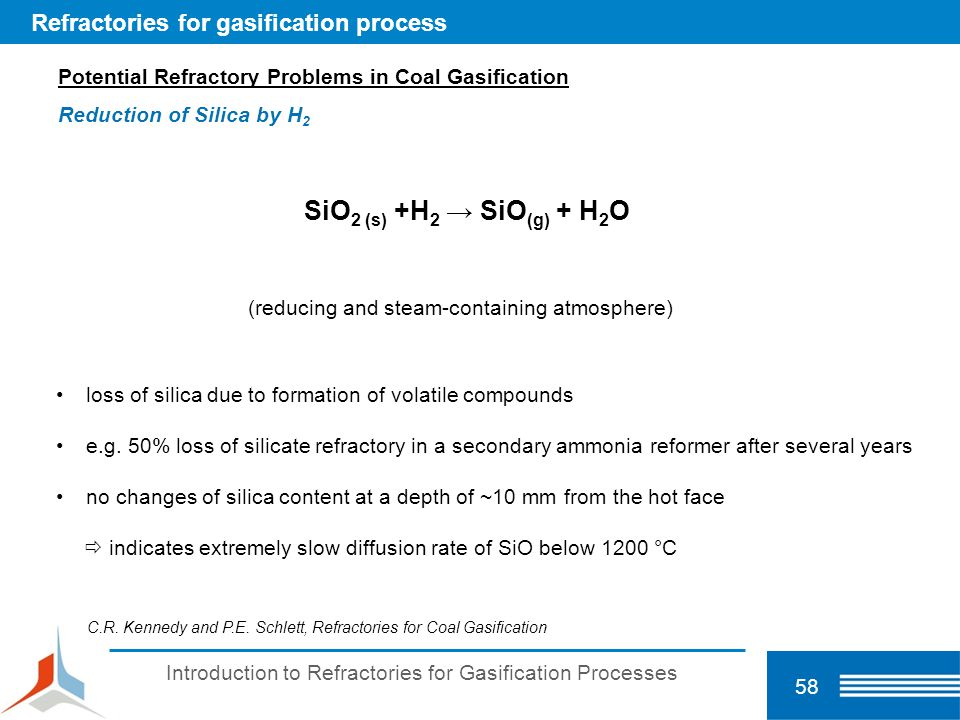 SiO2 (s) +H2 → SiO(g) + H2O Refractories for gasification process