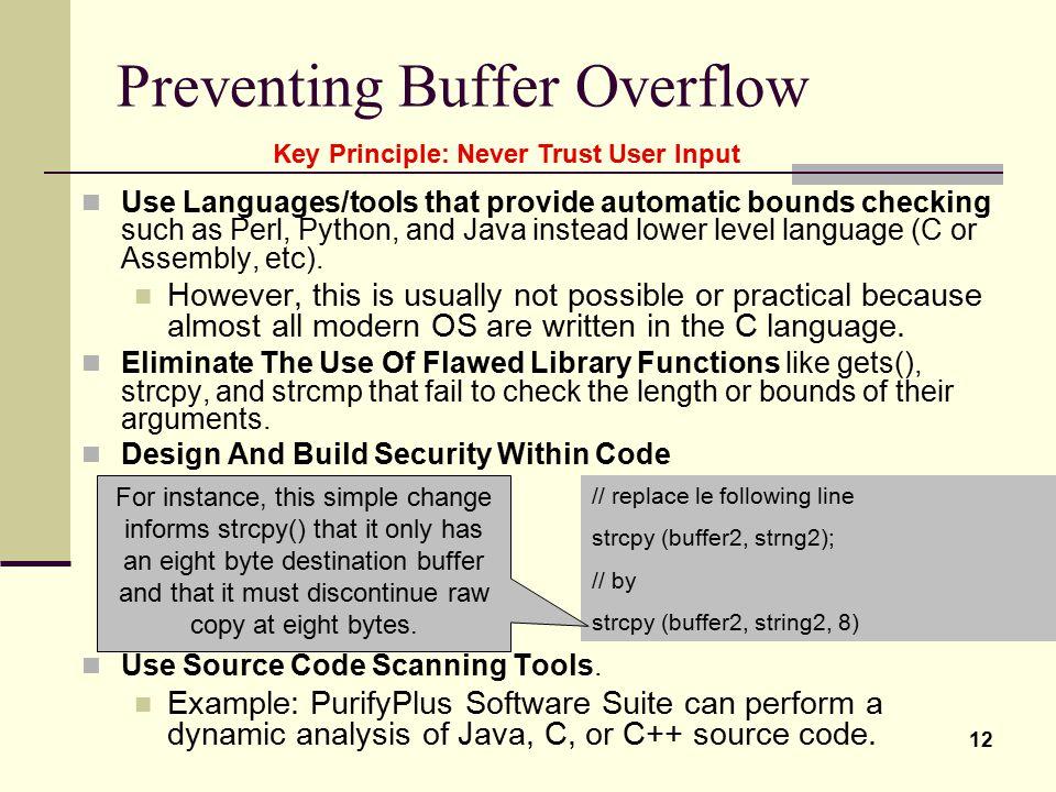 Preventing Buffer Overflow