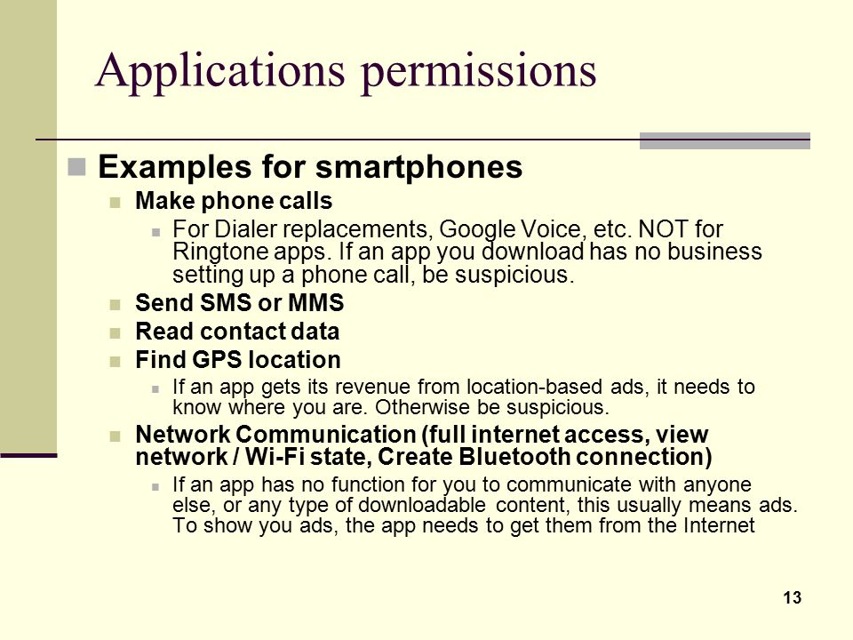 Applications permissions