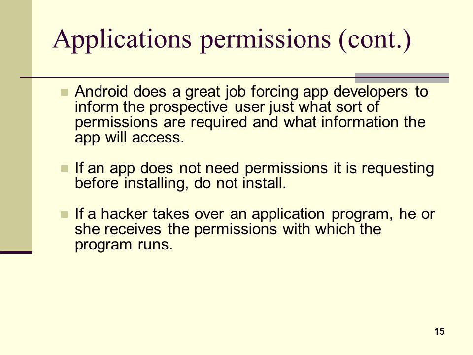 Applications permissions (cont.)