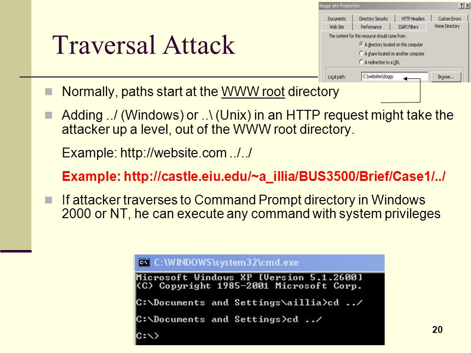 Traversal Attack Normally, paths start at the WWW root directory