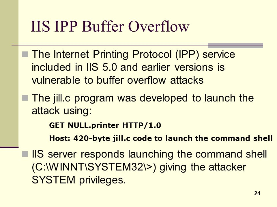 IIS IPP Buffer Overflow