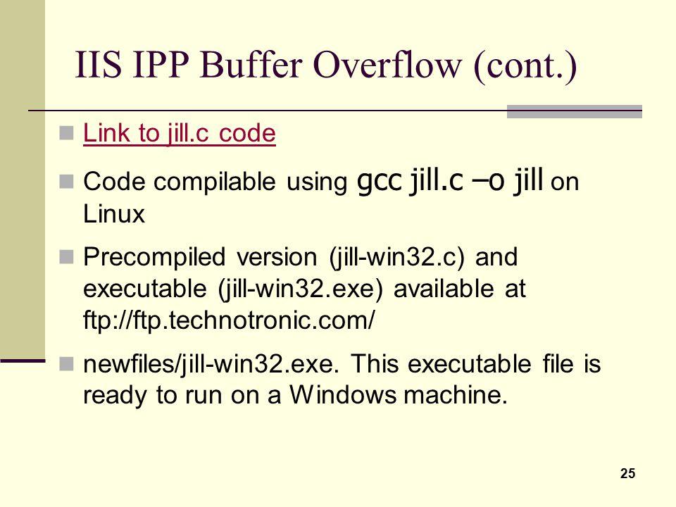 IIS IPP Buffer Overflow (cont.)