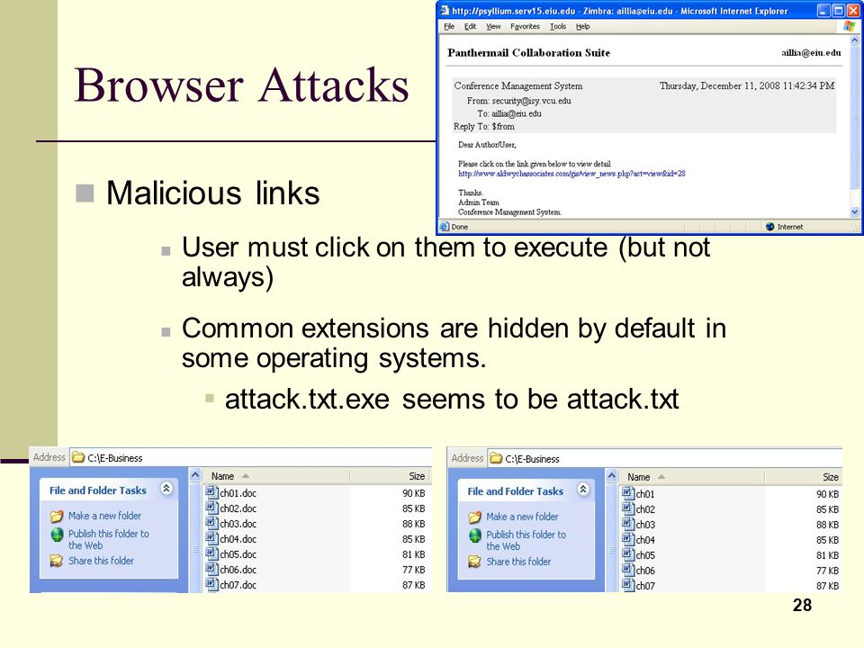 Browser Attacks Malicious links attack.txt.exe seems to be attack.txt