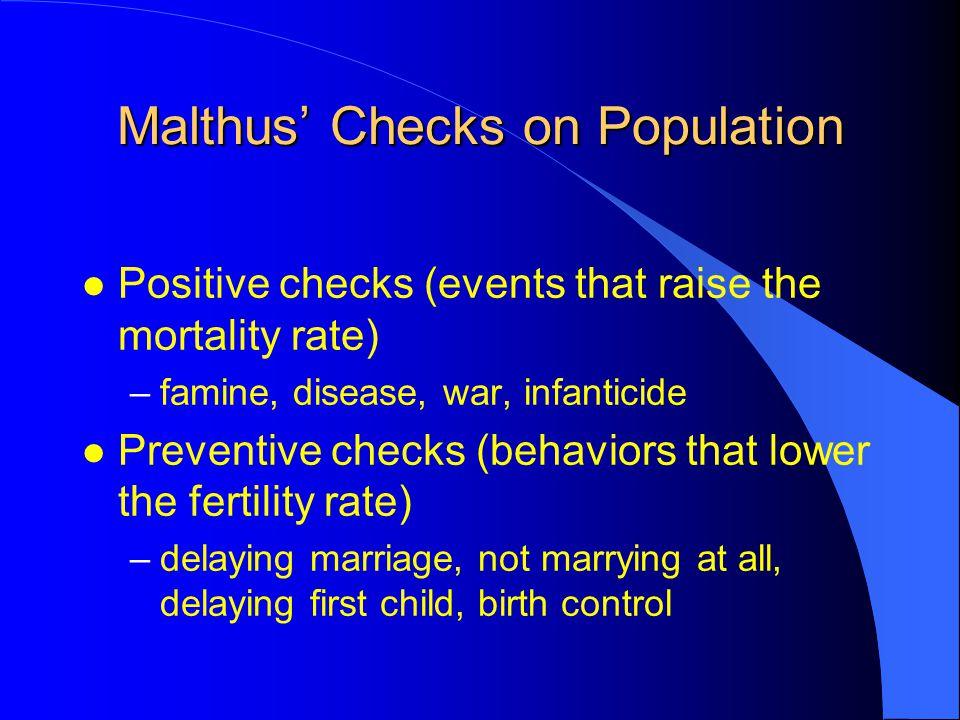 Malthus' Checks on Population