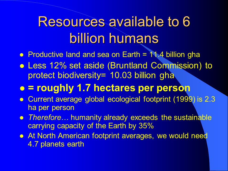 Resources available to 6 billion humans