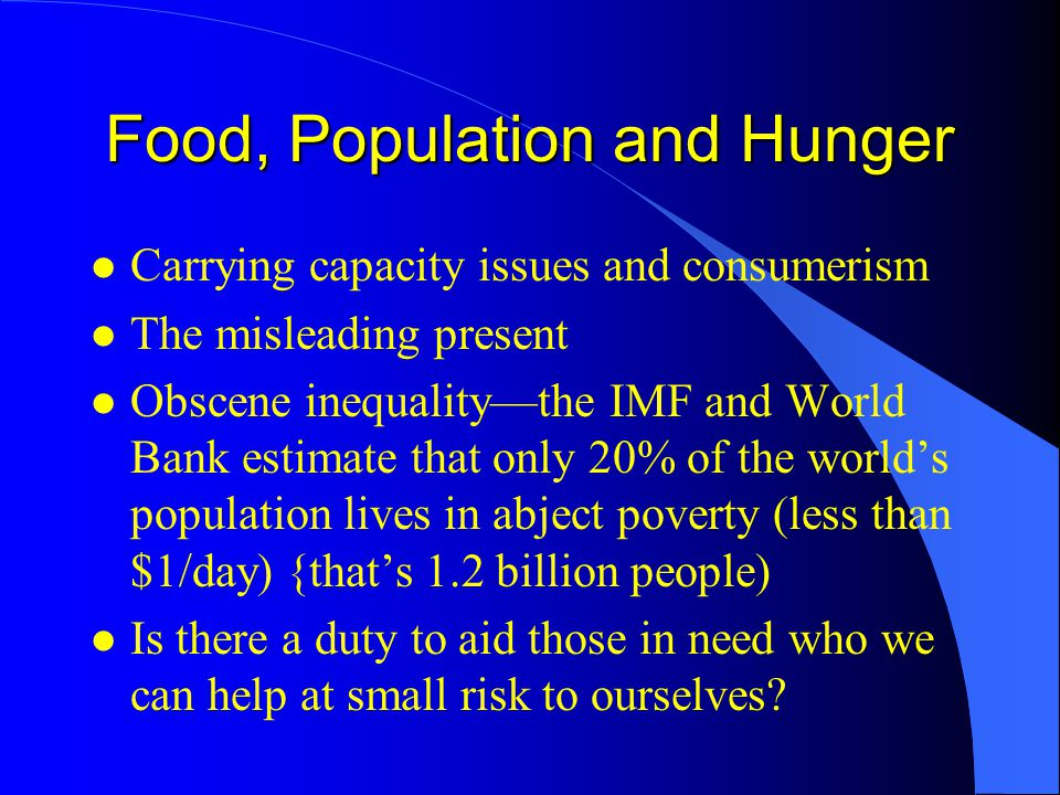 Food, Population and Hunger